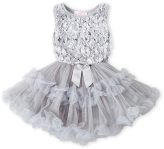 Popatu (Girls 4-6x) Silver Petal Tutu Dress