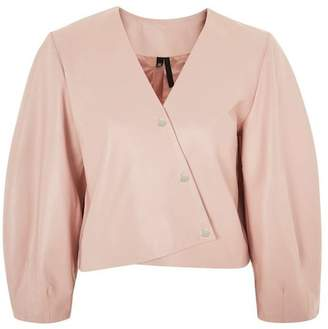 Topshop Leather Puff Sleeve Wrap Top