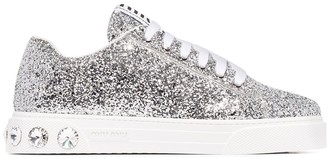 Miu Miu glitter-effect low-top sneakers