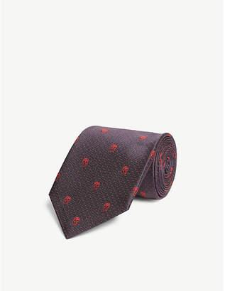 Alexander McQueen Polka dot and skull silk tie