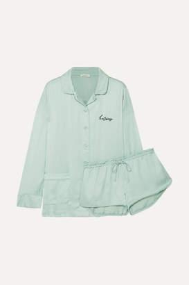 Love Stories - Embroidered Satin Pajama Set - Green