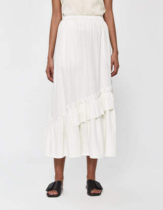Neul Bias-Cut Shirring Long Skirt