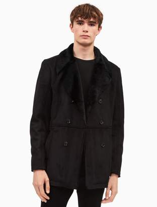 Calvin Klein double breasted faux suede jacket