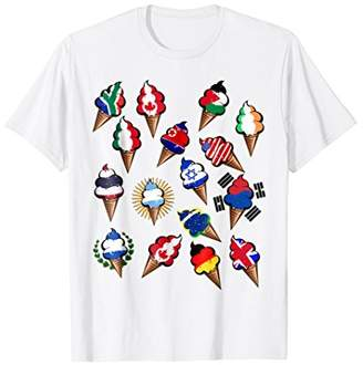 Flags of the world funny ice cream travel t-shirt