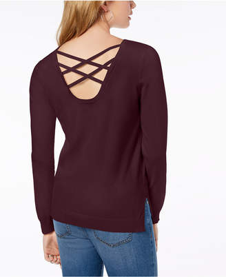 Hippie Rose Juniors' Strappy-Back Sweater