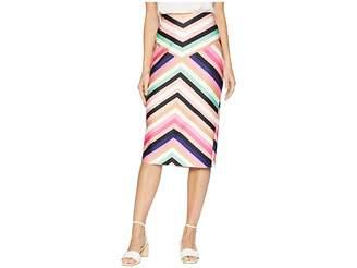 ECI V-Striped Midi Scuba Skirt Women's Skirt