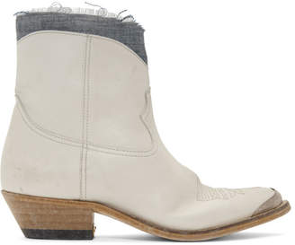 Golden Goose White Denim Young Boots