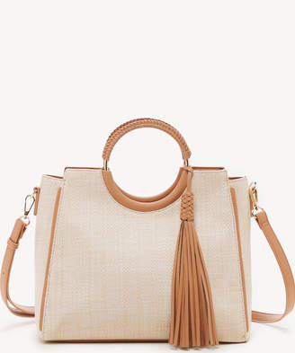 Sole Society Women's Day Satchel Ring In Color: Natural Combo Bag PU Genuine Suede From