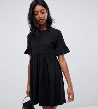 Asos Tall DESIGN Tall cotton slubby frill sleeve smock dress