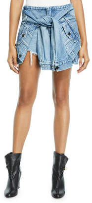 Alexander Wang Distressed Denim Skort with Sleeve Ties