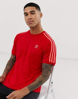 adidas 3 stripe t-shirt in red