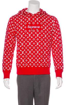 Louis Vuitton x Supreme 2017 All Over Monogram Box Logo Hooded Sweatshirt red x Supreme 2017 All Over Monogram Box Logo Hooded Sweatshirt
