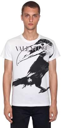 Valentino Animal & Logo Printed Cotton T-Shirt