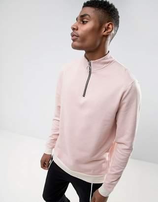 Asos Half Zip Sweatshirt With Contrast Rib
