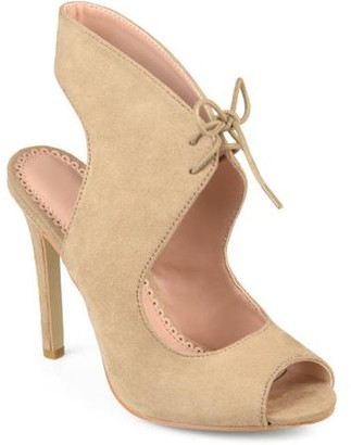 Brinley Co. Women's Ankle Strap Faux Suede Open Toe Lace-up High Heels