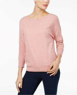 INC International Concepts I.n.c. Petite Ruched-Sleeve Sweater