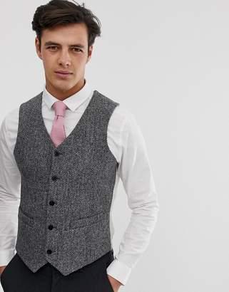 Asos Design DESIGN wedding slim waistcoat in 100% wool Harris Tweed in grey