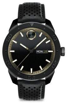 Movado Bold Leather Bracelet Watch