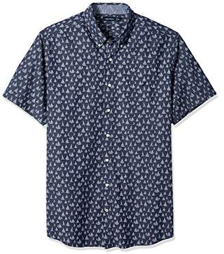 1674ab684 Nautica Men's Big and Tall Short Sleeve Signature Print Button Down Shirt