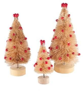 The Holiday Aisle Christmas Bottlebrush 3 Piece Tabletop Tree Set