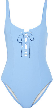 Solid and Striped - Staud Sophia Lace-up Ribbed Swimsuit - Sky blue $170 thestylecure.com