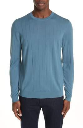 Emporio Armani Ribbed Wool Blend Crewneck Sweater