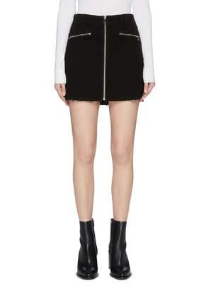 494754976e J Brand 'Moto' zip front raw hem denim skirt