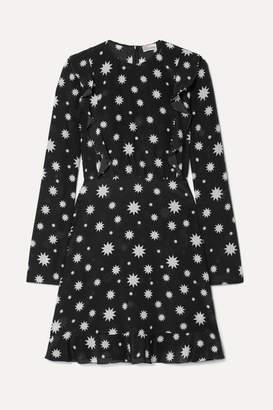 RED Valentino Realization Printed Silk-crepe Mini Dress - Black