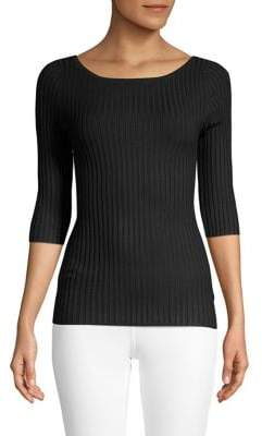 525 America Scoopneck Rib-Knit Sweater