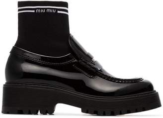 Miu Miu sock insert patent leather loafers