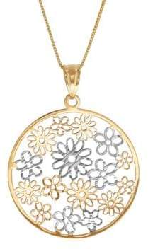 Lord & Taylor 14K Yellow Gold Flowers in Circle On Box Necklace