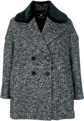 Twin-Set peaked lapels double-breasted coat $418.50 thestylecure.com