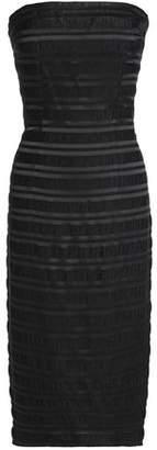 Black Halo Eve By Laurel Berman Barker Strapless Plissé Satin-Jacquard Dress