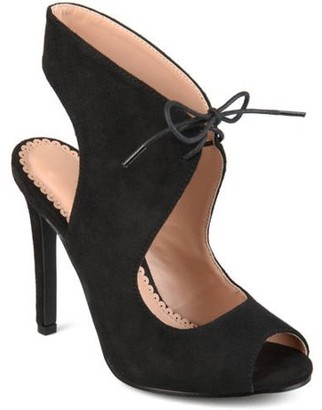 Co Brinley Women's Ankle Strap Faux Suede Open Toe Lace-up High Heels