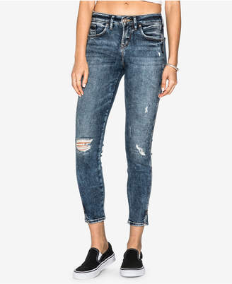 Silver Jeans Co. Juniors' Avery Ripped Skinny Ankle Jeans