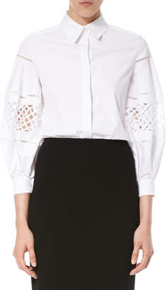 Carolina Herrera Crochet-Inset Balloon-Sleeve Blouse, White