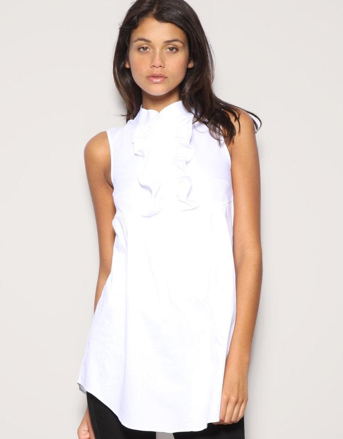 ASOS Sleeveless Longline Ruffle Front Shirt