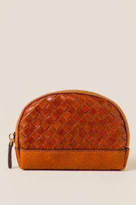 francesca's Minka Woven Leather Coin Pouch - Tan