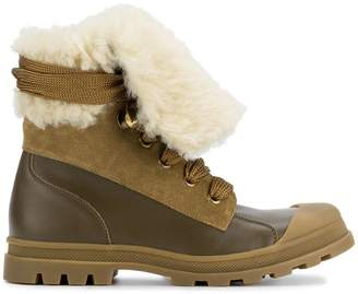 Chloé Brown Parker leather shearling boots