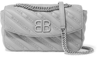 Balenciaga Bb Round Small Embroidered Leather Shoulder Bag - Gray