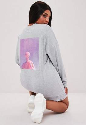 Missguided Plus Size Gray Statue Long Sleeve T Shirt Dress