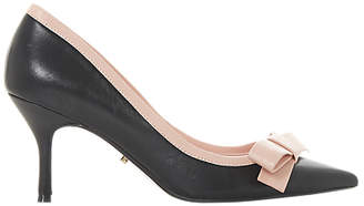 Dune Besee Bow Kitten Heel Court Shoes, Black Leather
