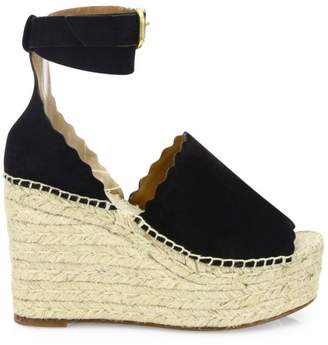 507a58437320 Chloé Lauren Suede Ankle-Strap Espadrille Wedge Sandals