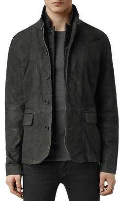 AllSaints Survey Regular Fit Leather Blazer