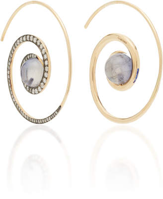 Noor Fares Spiral Moon 18K Gold Diamond And Iolite Earrings