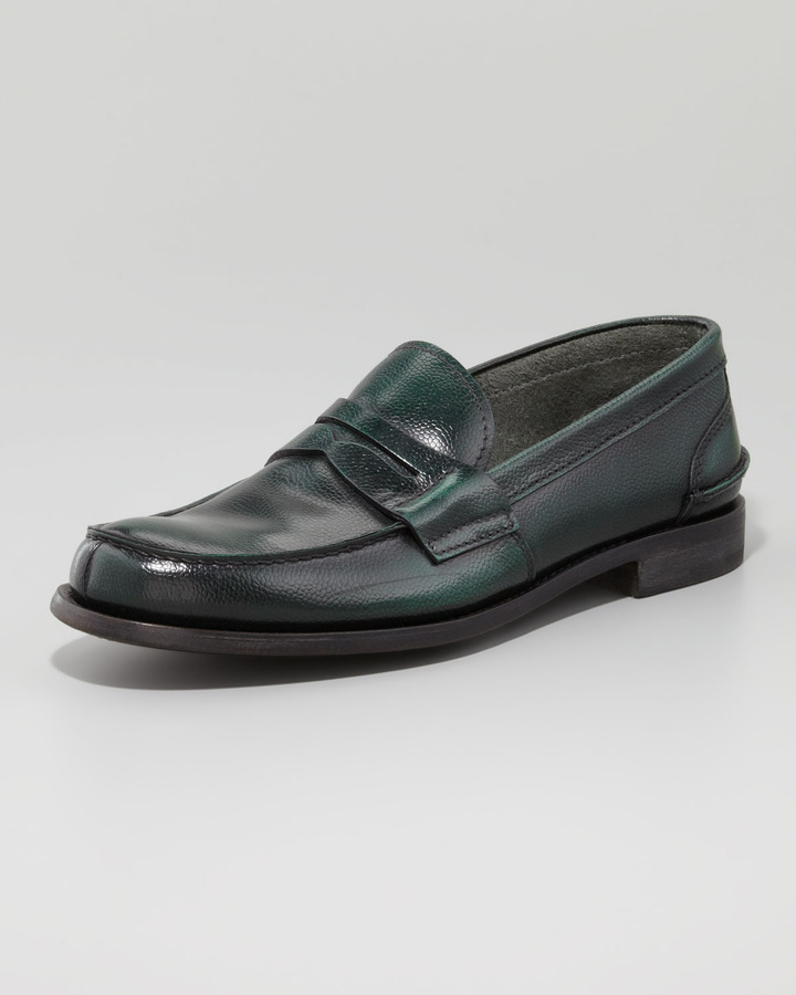 Prada Textured Leather Penny Loafer