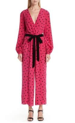 Valentino Heart Print Silk Jumpsuit