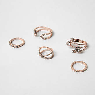 River Island Rose gold tone rhinestone rings pack
