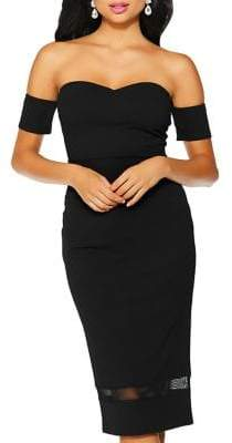 Quiz Mesh-Paneled Sweetheart Dress