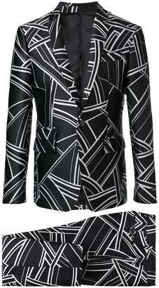 Les Hommes geometric print two-piece suit